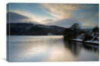 Ladybower Winter Reflections , Canvas Print