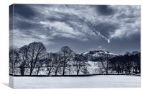 Bamford Edge in Winter , Canvas Print