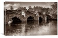 Bakewell Bridge in Sepia , Canvas Print