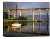 Calstock Viaduct and River Tamar Reflections, Canvas Print