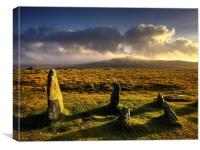 Merrivale Stone Rows Sunset , Canvas Print