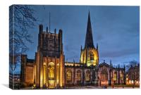 Sheffield Cathedral at Night, Canvas Print