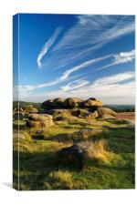 Owler Tor with Dramatic Sky                      , Canvas Print