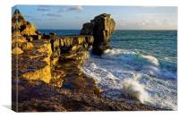 Pulpit Rock and stormy seas                       , Canvas Print