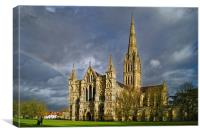 Salisbury Cathedral with Rainbow                  , Canvas Print