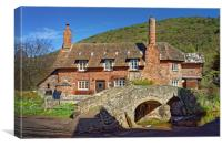 Allerford Packhorse Bridge and Cottage            , Canvas Print