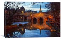 Pulteney Bridge and River Avon in Bath            , Canvas Print