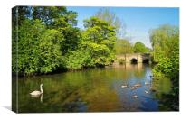 Bakewell Bridge & River Wye                      , Canvas Print