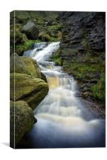 Grindsbrook Clough Waterfalls                     , Canvas Print