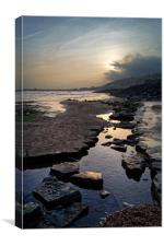 Church Beach Sunset, Lyme Regis                   , Canvas Print