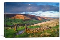 Hollins Cross & Vale of Edale                     , Canvas Print