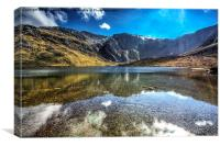 The Gylders relecting in llyn Idwal, Canvas Print
