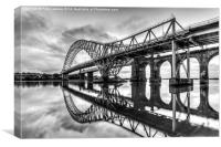 Jubilee Bridge Runcorn/Widnes Cheshire mono, Canvas Print