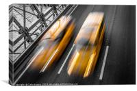 Yellow cabs crossing Brooklyn Bridge, Canvas Print