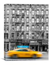 Yellow Cab, Hell's Kitchen, Canvas Print