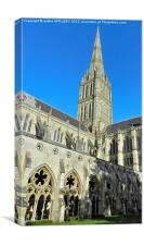 SALISBURY CATHEDRAL SPIRE AND CLOISTER, Canvas Print