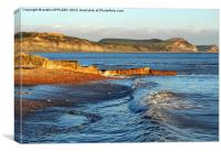 GOLDEN CAP AND LYME REGIS WAVES, Canvas Print