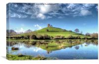 Burrow Mump Flood Reflections, Canvas Print
