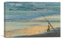 Fishing From The Beach, Canvas Print