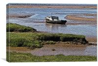 Boat moored in the mud, Canvas Print