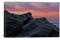 Happisburgh sea defences at sunset, Canvas Print