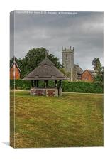 Woodbastwick village green and church, Canvas Print