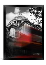 St Pauls Cathedral and a London Bus, Framed Print