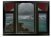 Lofoten Islands, looking out from our window, Framed Print