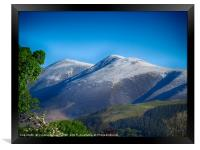 Skiddaw mountain covered in a dusting of snow , Framed Print