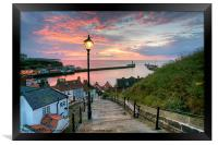 Whitby, 199 Steps, Pink Glow., Framed Print