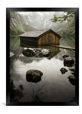 Obersee Boathouse, Framed Print