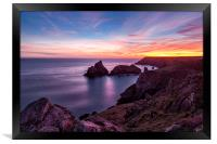 Sunset over Kynance Cove, Framed Print