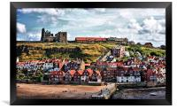 Whitby Cottages And Abbey, Framed Print