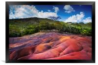 Seven Colored Earth in Chamarel. Mauritius, Framed Print