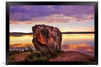 The Sunrise Over Mysterious Stone. North Russia, Framed Print