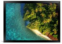 Tropical Island from Above. Aerial Journey over M, Framed Print