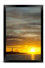 Sunset at lossiemouth lighthouse, Framed Print