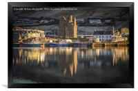 Reflections of Scalloway Harbour and Castle, Framed Print