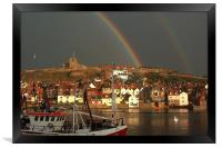 End of the rainbow in Whitby, Framed Print