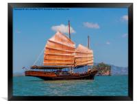 Chinese style junk in the Andaman Sea, Framed Print