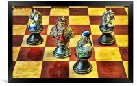 Medieval chess pieces, Framed Print