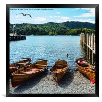 Rowing boats moored on Windermere., Framed Print