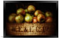 Painted Apples in Crate, Framed Print