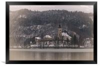 Bled Island Dusted With Snow, Framed Print