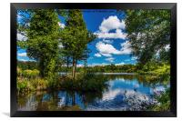 Reflections in Stover Lake., Framed Print
