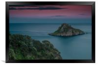 Thatcher Rock Torquay at Sunset , Framed Print