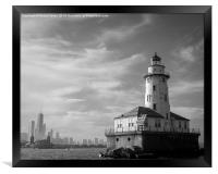 Chicago skyline and lighthouse from Lake Michigan, Framed Print