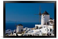 Windmills Of Oia, Framed Print