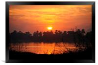 Fiery Sunset in Luxor, Egypt, Framed Print