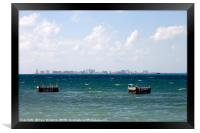 Puerto Juarez and Cancun Mexico from Isla Mujeres, Framed Print